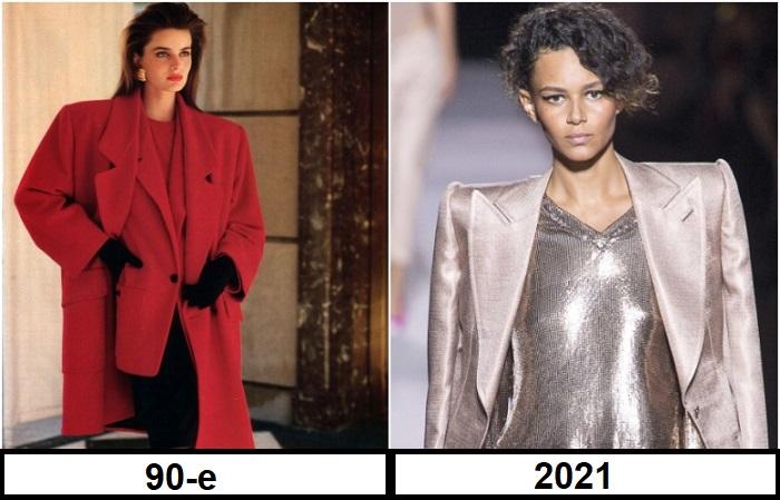Пиджаки и пальто с объемными плечами смотрятся очень элегантно