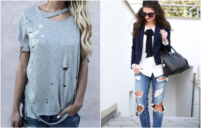 Рваные джинсы и футболки на пике популярности