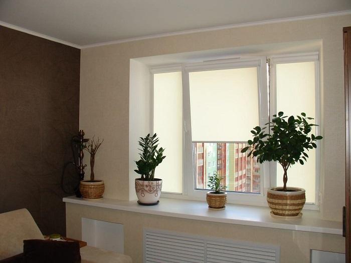 Рулонные шторы могут наполовину закрыть окно