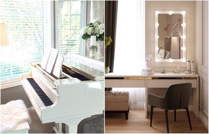 Поставьте рядом с окном рояль или туалетный столик