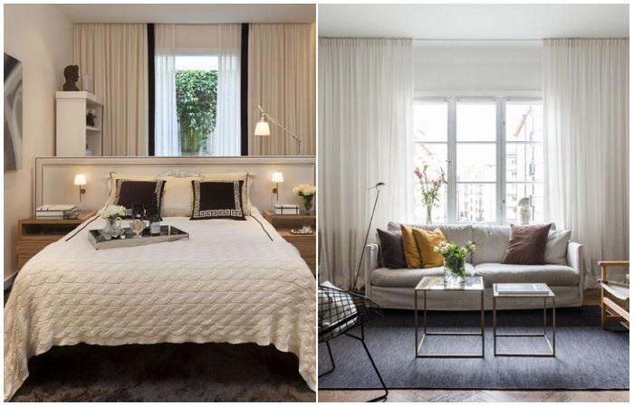 Если поставить диван или кровать к окну, выглядывать из него не получится