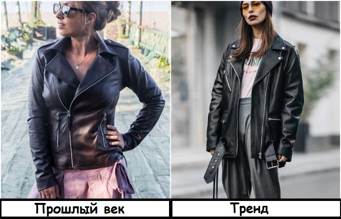 Облегающую кожаную куртку лучше заменить на модель оверсайз