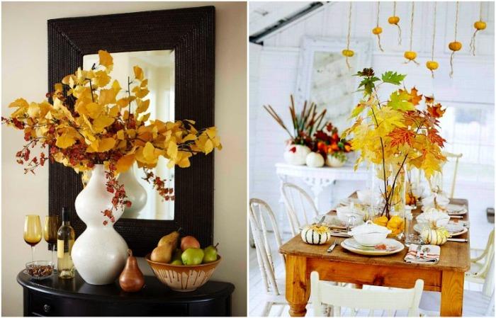 Осенний букет прекрасно будет смотреться на тумбе или обеденном столе