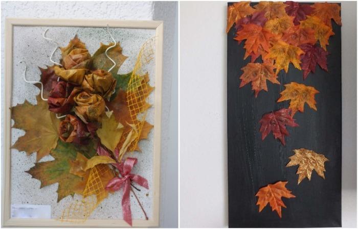 Панно из листьев может быть самым простым по исполнению или сложным