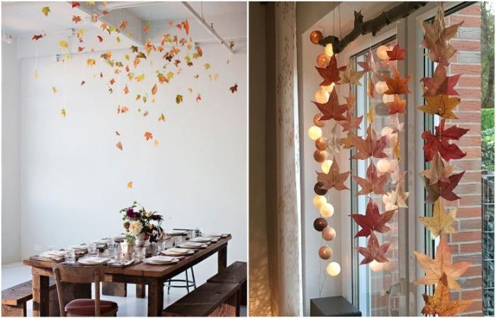 Из осенних листьев получится вертикальная гирлянда или облако над столом