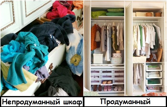 Наполнение шкафа нужно продумывать исходя из имеющихся вещей
