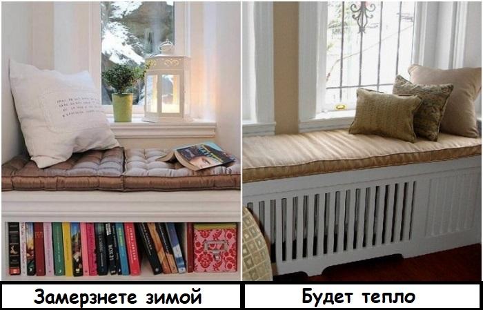 Если вместо радиатора сделать книжный шкаф, в комнате будет холодно