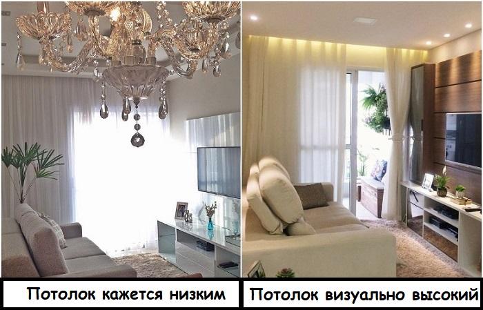 Точечное освещение не перегружает комнату