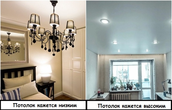 Массивная люстра делает потолок ниже, а точечное освещение - выше