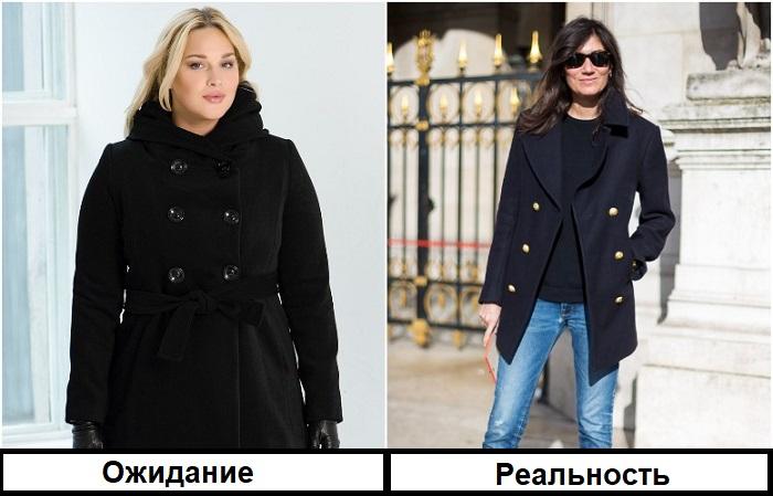 Если на двубортном пальто нет крупного декора, оно будет сидеть хорошо