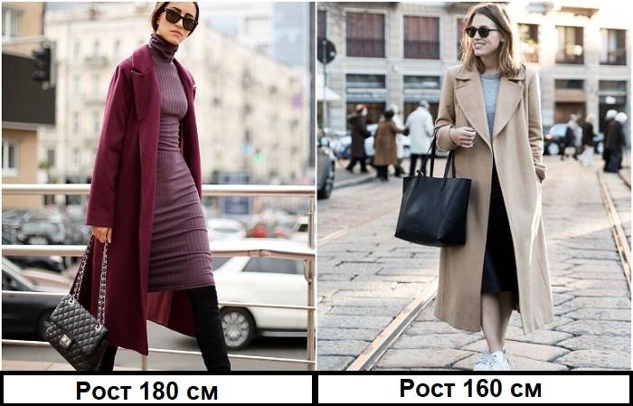 Пальто миди смотрится хорошо как на высоких, так и на маленьких девушках