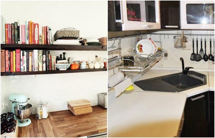 Посуда и книги на полках и рейлингах покрываются пылью