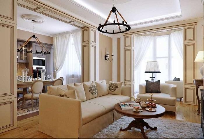 В гостиной обязательно должен присутствовать большой диван и кресла для гостей. / Фото: piramida-stroi.ru