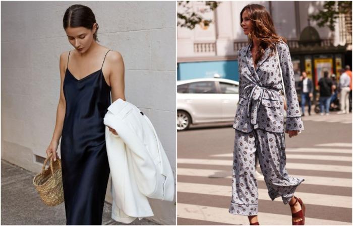 Платья в бельевом стиле и костюмы-пижамы являются частью современного образа