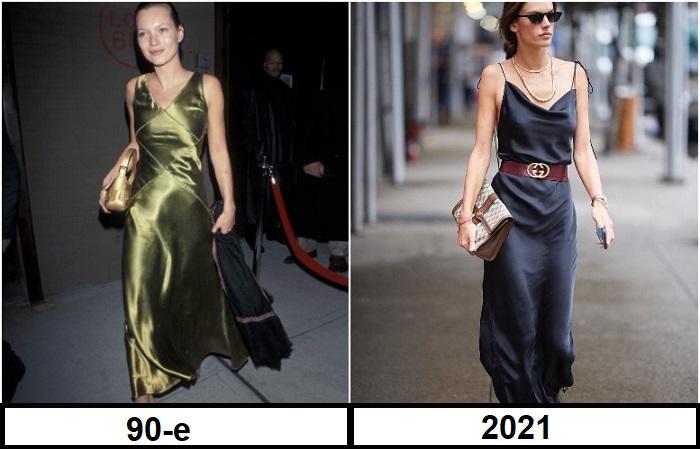 В 90-х годах в платье-комбинации часто появлялась Кейт Мосс