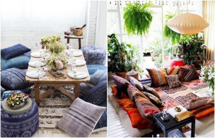 Подушки на полу подходят для интерьера в стиле бохо. / Фото: tgorlovka.com