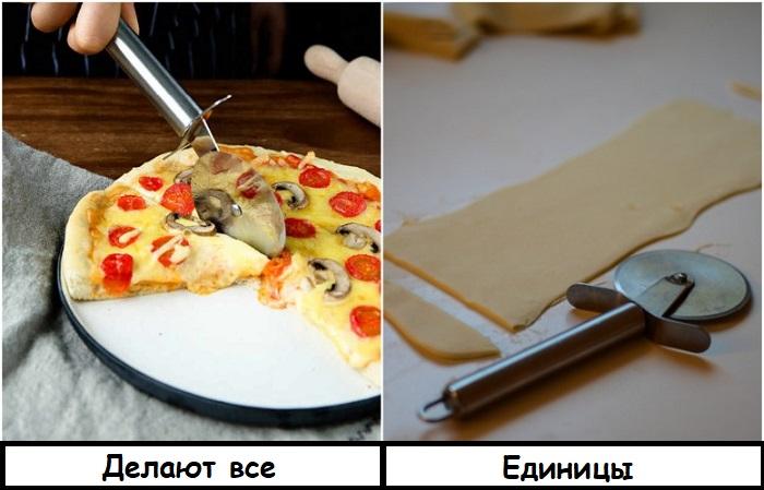 Ножом для пиццы можно делать ровные полоски теста