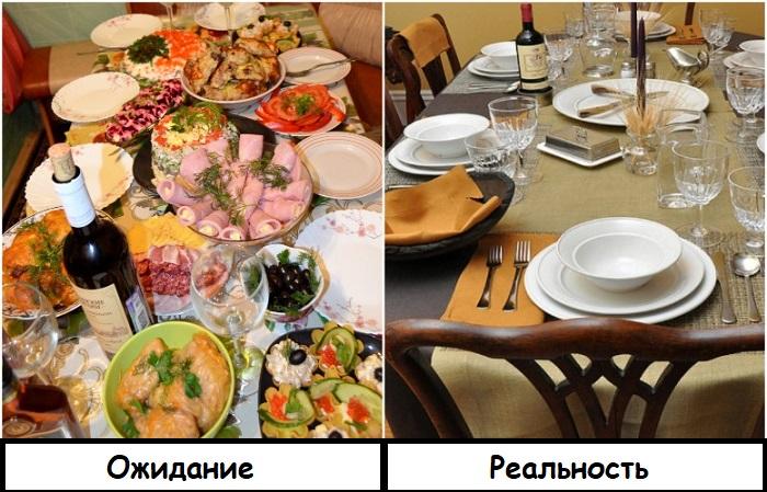 Иногда вместо стола с вкусными блюдами гостей ожидает стол с пустыми тарелками