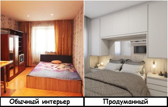 Шкаф для хранения лучше выстраивать вокруг кровати