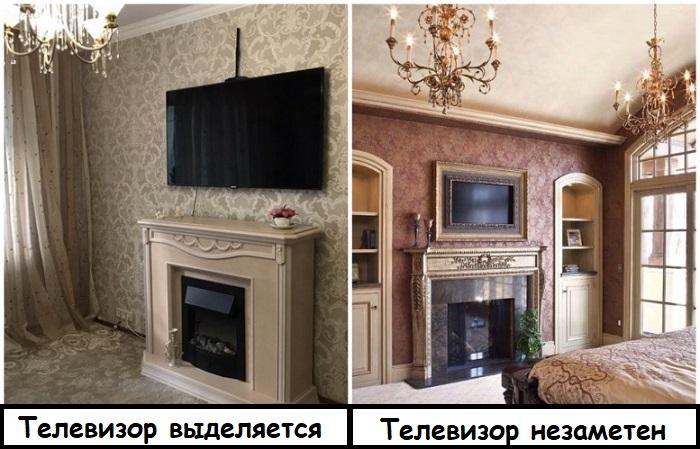 В классическом интерьере телевизор лучше замаскировать под картину