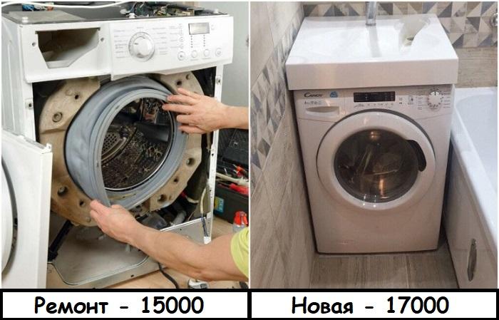 Ремонт стиральной машины может обойтись не намного дешевле покупки новой