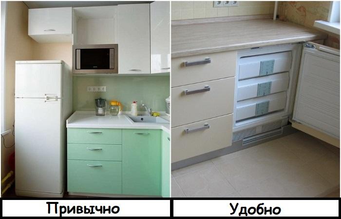 Встроенный холодильник компактнее стандартного