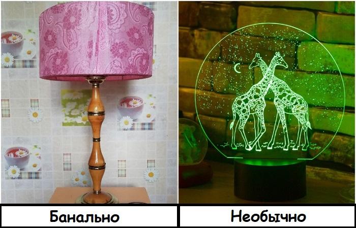 3D лампа выглядит красиво и оригинально