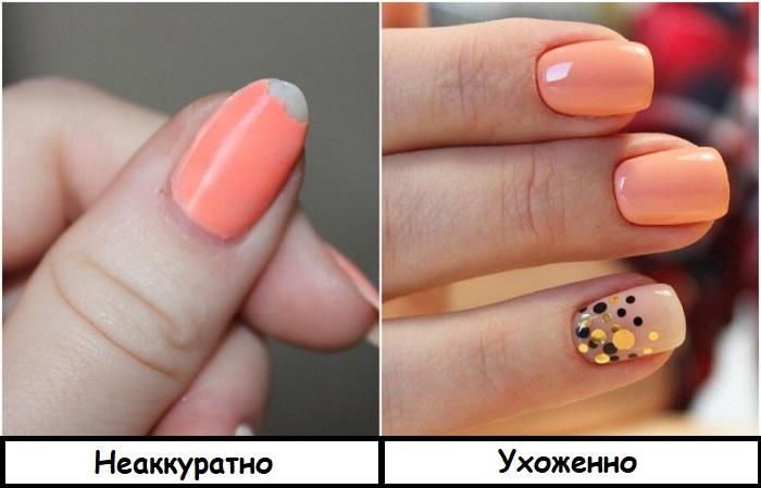 Если на ногте откололся лак, маникюр нужно переделать