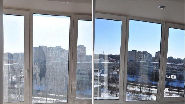 Внешний вид окон до и после мытья. / Фото: prof-klining24.ru
