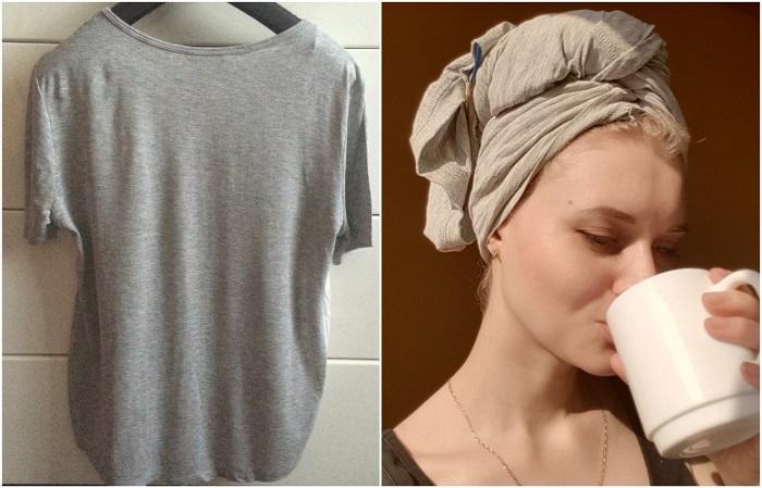 Используйте вместо полотенца хлопковую футболку