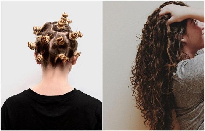 Перед сном сделайте пучки из волос, а утром распустите их