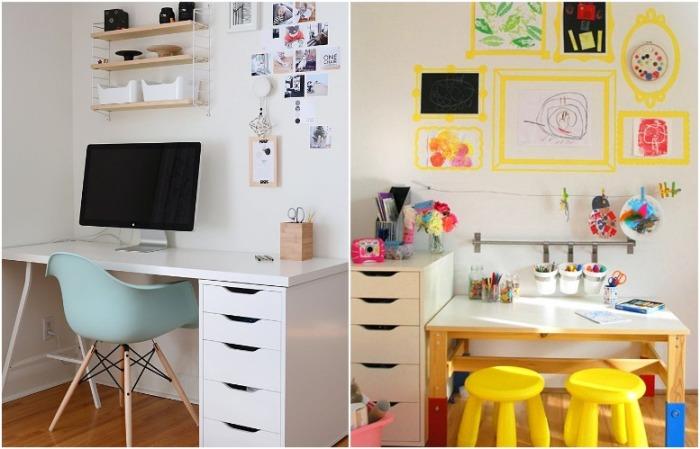 По соседству со своим столом сделайте рабочее место для ребенка