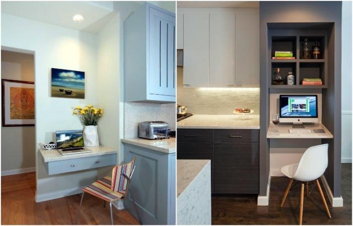 Оборудуйте кабинет в свободном углу или нише на кухне