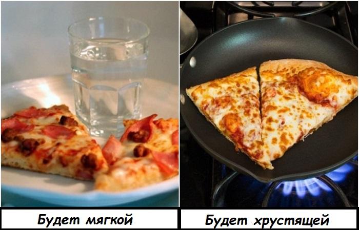 В отличие от многих других блюд, пиццу лучше разогревать на сковороде