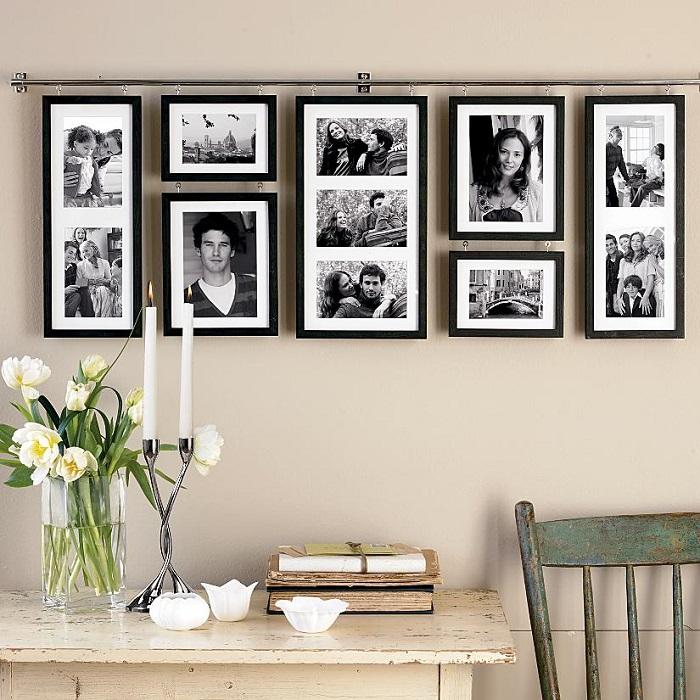 Можно повесить свои распечатанные снимки или профессиональные фотографии. / Фото: rerooms.ru