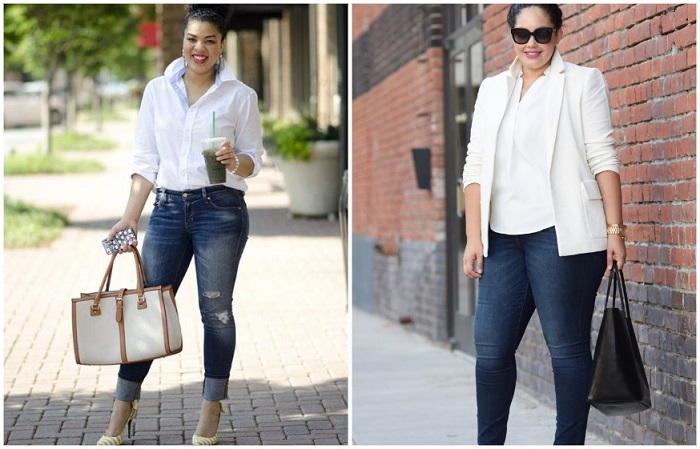 Джинсы с рубашкой красиво смотрятся с каблуками и пиджаком