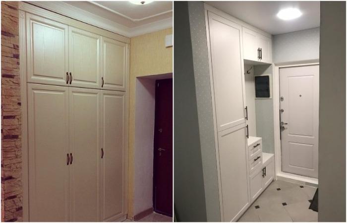 Такой шкаф незаметен, он сливается со стеной