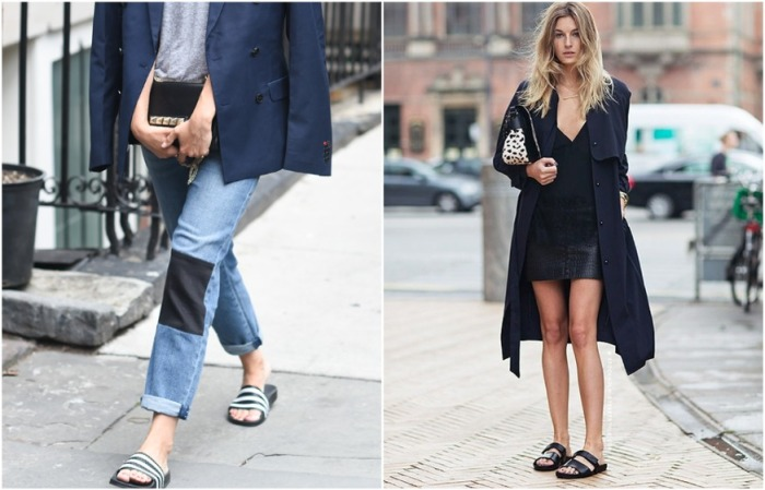 Сегодня шлепки могут дополнить и джинсы и юбку