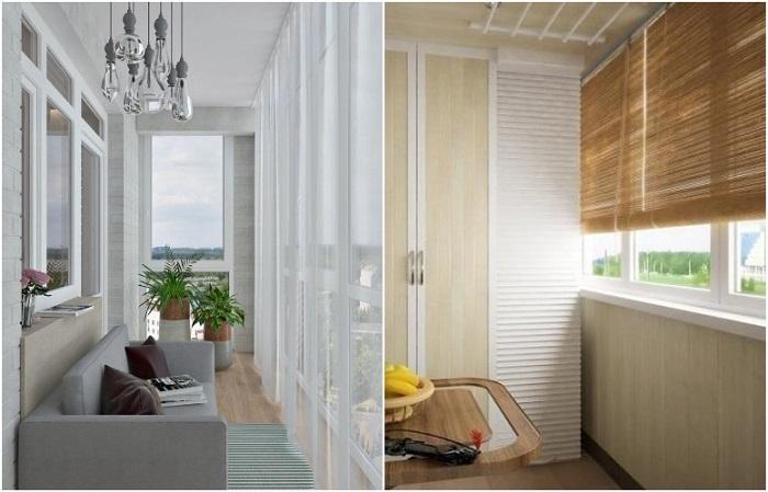 Для декора подойдет тюль, для защиты от солнца - плотные шторы. / Фото: balkonjournal.ru