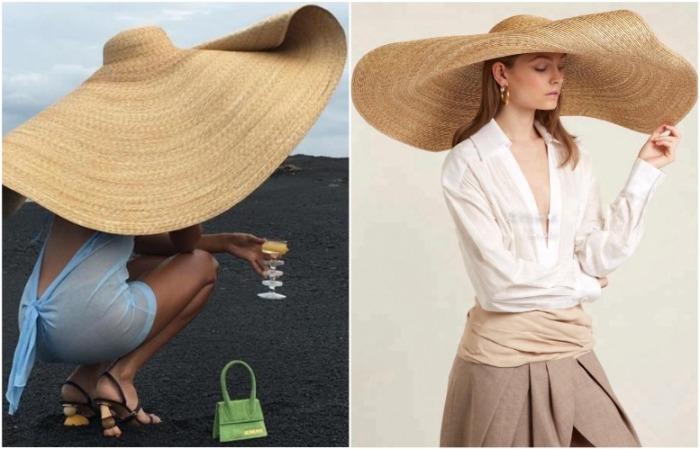 Широкополая шляпа от бренда Jacquemus слишком большая