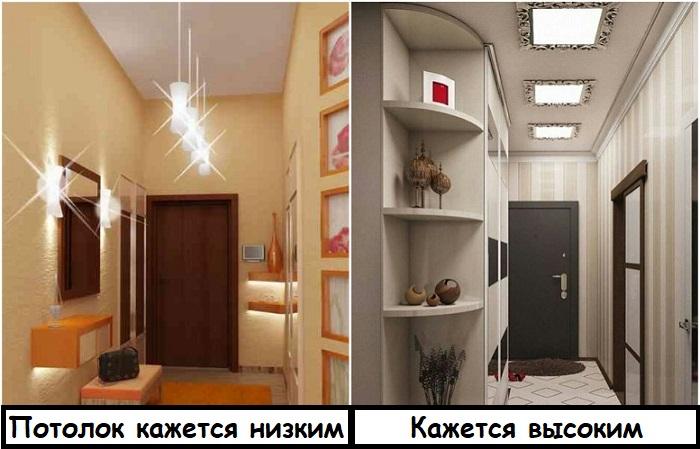 Подвесные светильники зрительно делают потолок ниже