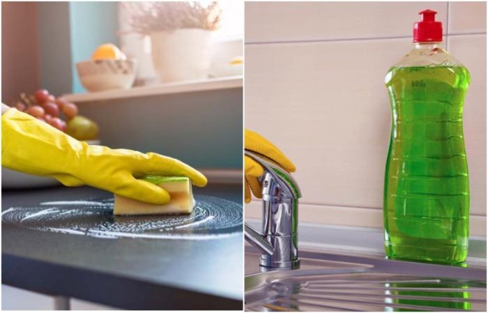 Почистите столешницу средством для мытья посуды и губкой