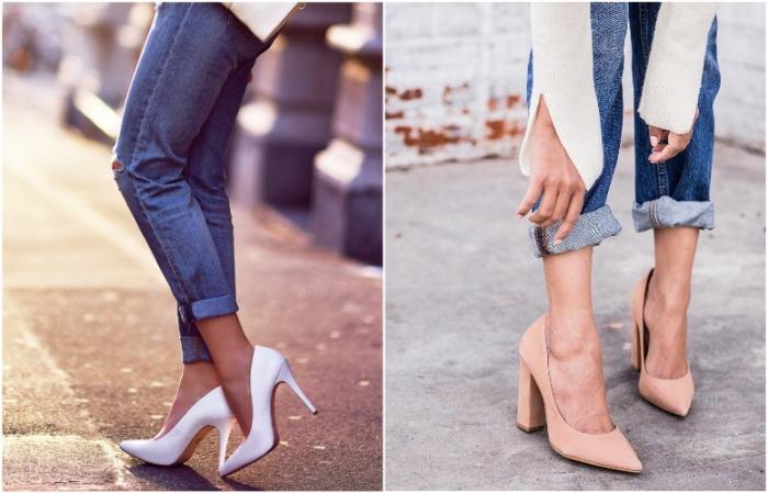 Белые туфли лучше заменить на пудровые