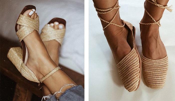 Плетеная обувь может быть на каблуке или плоском ходу. / Фото: stil.mirtesen.ru