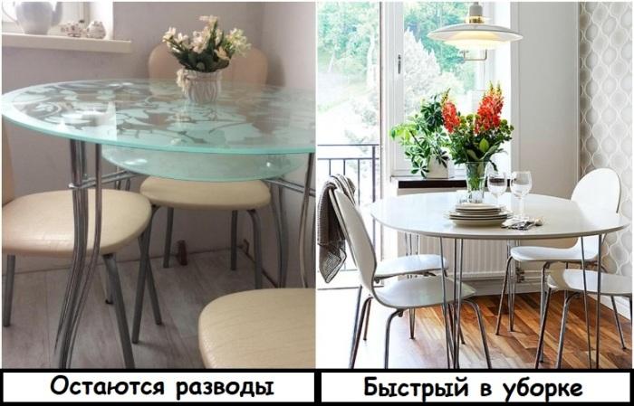 Стеклянный стол сложный в уходе и может треснуть