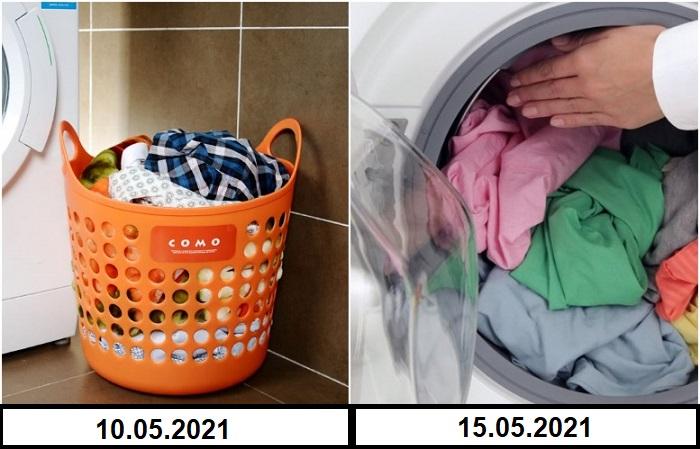 Белье нужно стирать сразу, а не оставлять в корзине на несколько дней