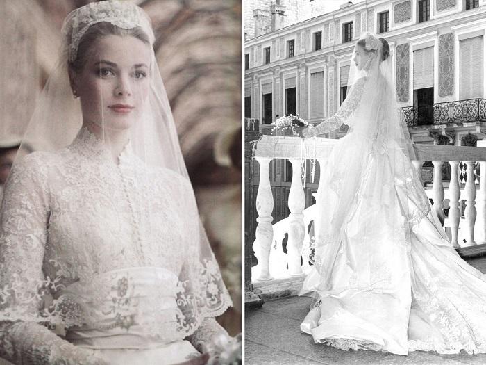 Грейс Келли в свадебном платье от Хелен Роуз. / Фото: svadbadoiposle.com