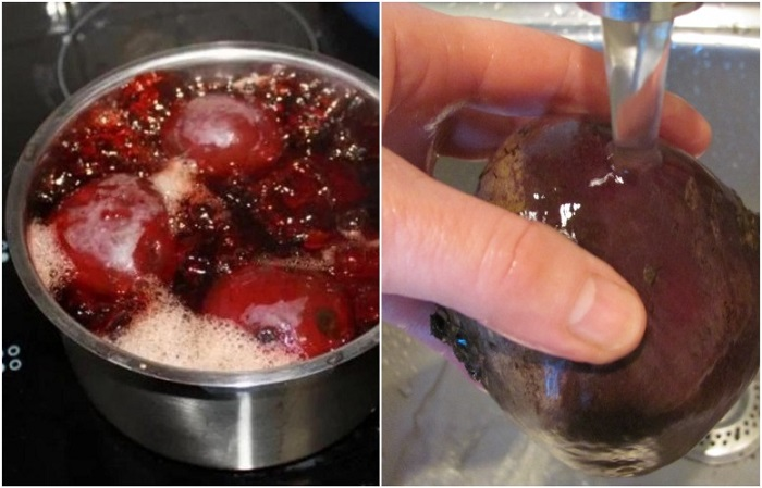 Варите свеклу в горячей воде, а потом обдайте ледяной