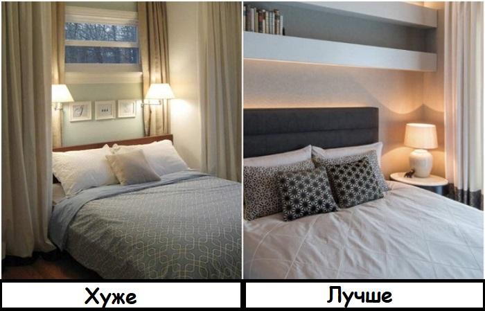Лампу на тумбе легче заменить, если возникнет необходимость