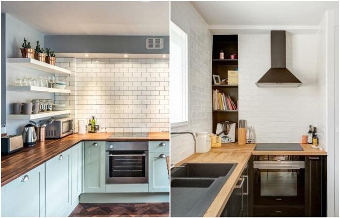 Отсутствие верхних шкафов делает кухню легче и просторнее